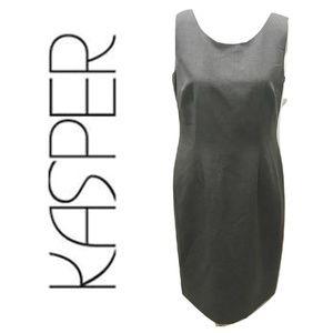 KASPER Size 8 Dress Sheath Solid Gray Career Midi
